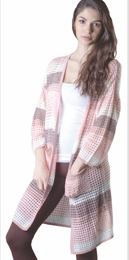 Ladies' Long Crochet Cardigan