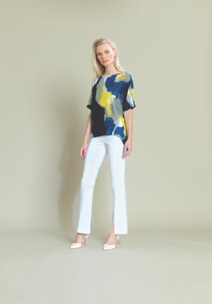 yellow Watercolour Loose Cut Crepe Top with 1/2 Sleeves