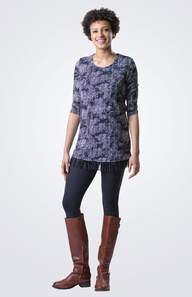 Long Sleeve Printed Tunic With Fringes