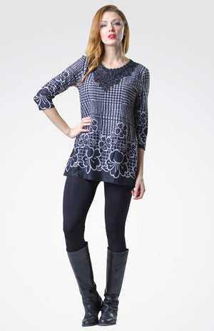Lace Detailed  Printed Tunic
