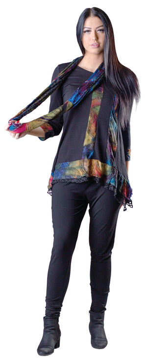 multi color long sweater with lace hem