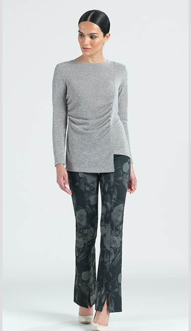 Grey Sweater with Front Ruching