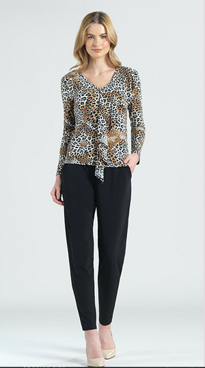 Animal Print Cascade Drape Top
