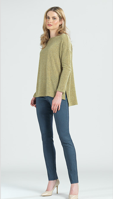 Mid-length Cozy Tunic Sweater in Green