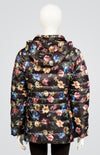 Printed Down Coat with Detachable Hood and Carrying Pouch