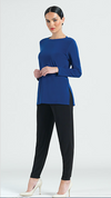 blue Knit Tunic with cut-out back detail