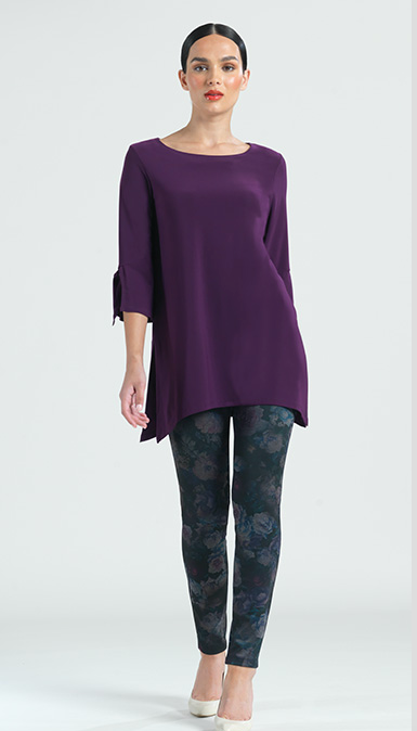 Eggplant Solid Tunic with Cuff-Ties