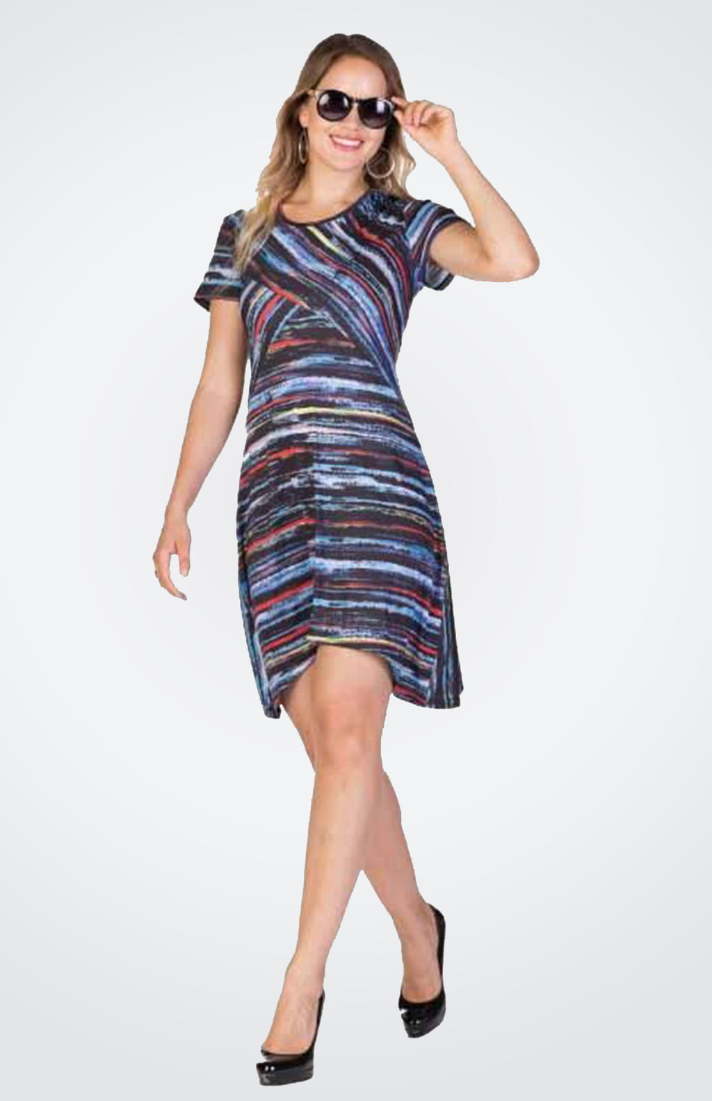 Striped Short Dress  NOW 70% OFF