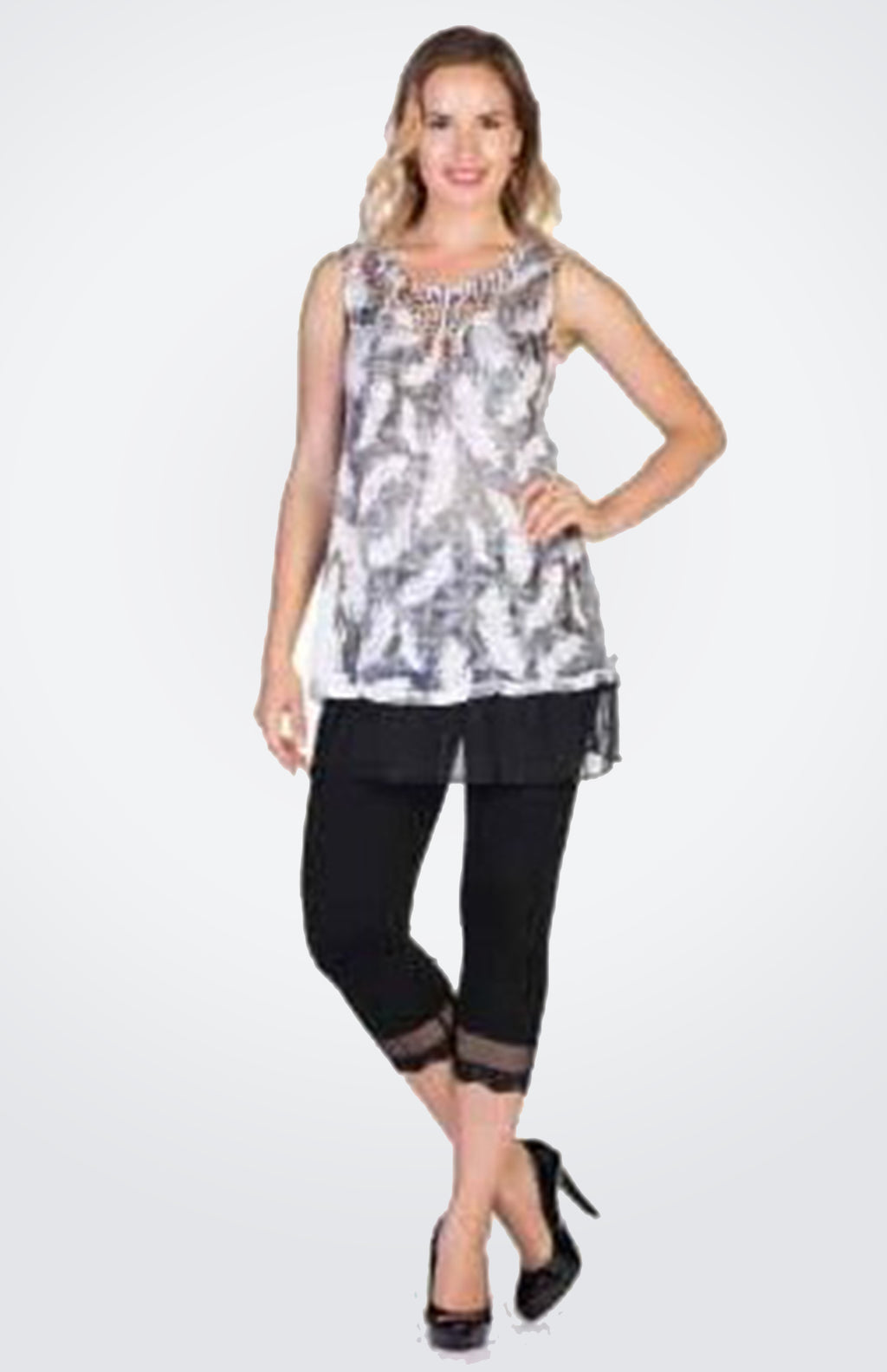 Feather Print Mesh Tunic  Now 50% OFF