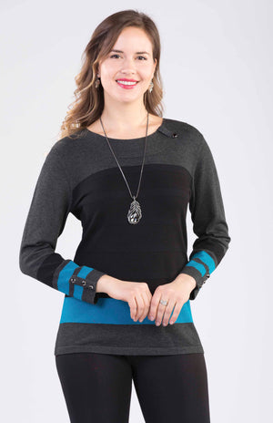 Pullover With Blue Strip on Waist and Sleeves