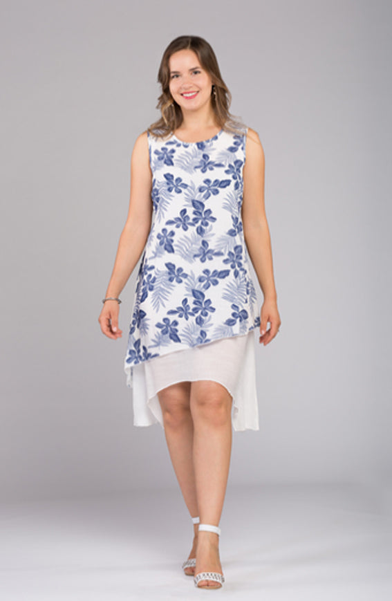 Two Layered Printed Dress V8665 New Arrival