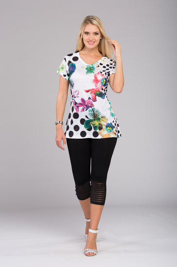Flower Print Top V8709 New Arrival