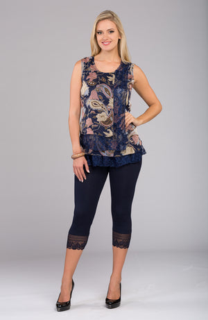 Printed Top with Net V8713 New Arrival