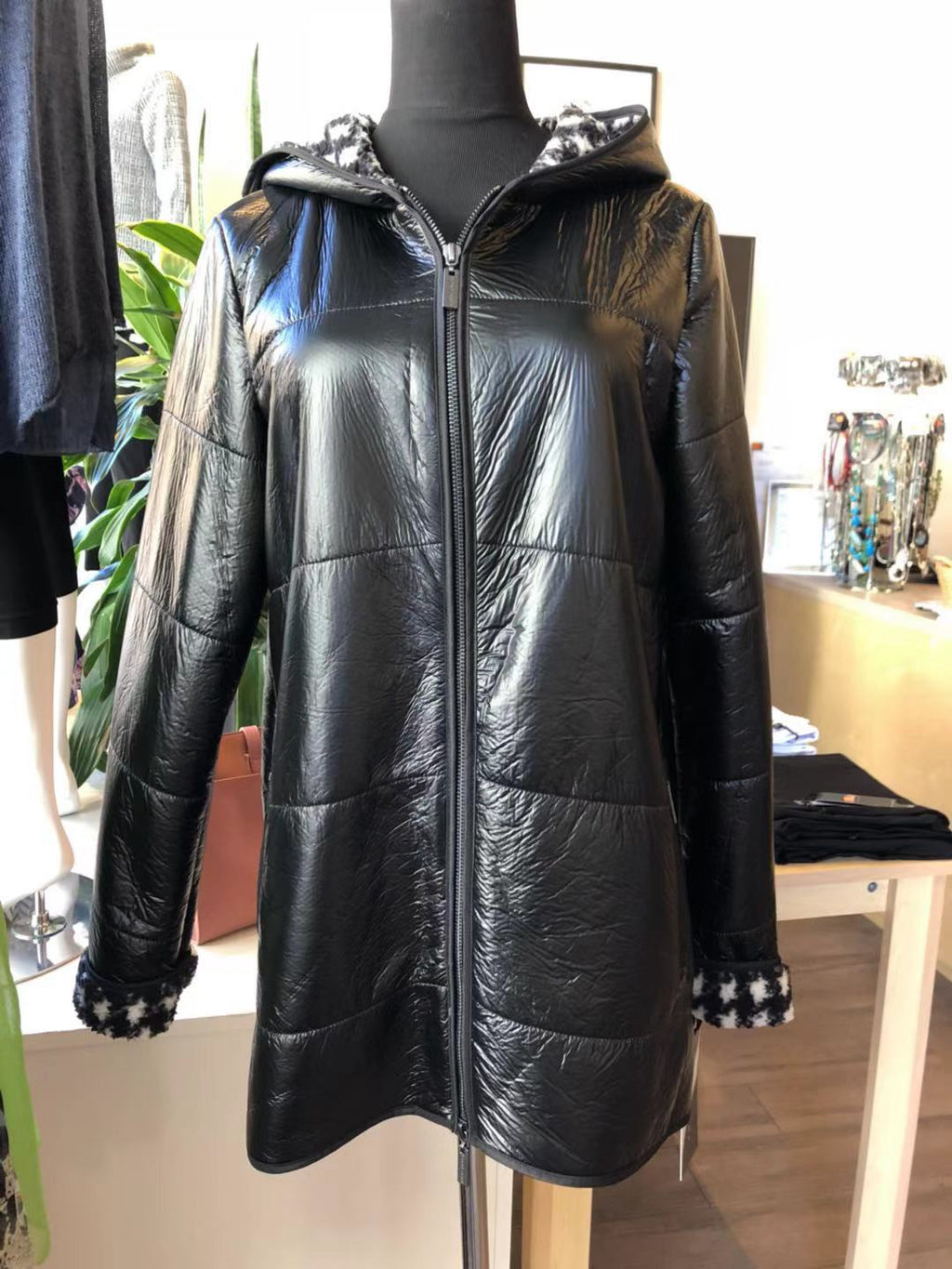 Ladies' Metallic Black Coat with Checkered Fleece Lining