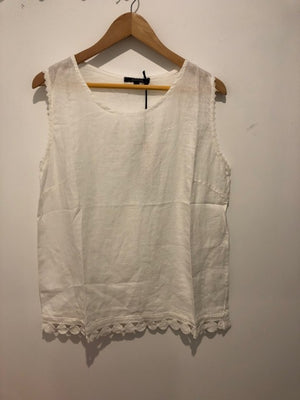 100% Linen Woven Blouse with Lace Bottom