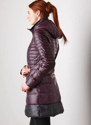 Long Down Coat with Detachable Hood and Carrying Pouch