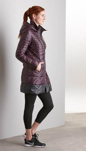 Long Down Coat with Detachable Hood and Carrying Pouch Now 30% Off