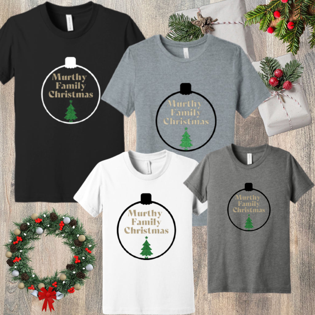 [PRE-ORDER] CUSTOM FAMILY NAME CHRISTMAS ORNAMENT T-SHIRT