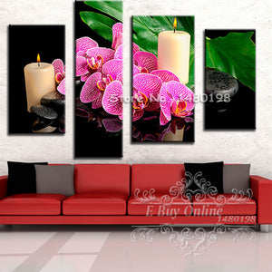 Diamond Painting 4 Luiks Roze Bloemen & Kaarsen - Diamond Painting Store