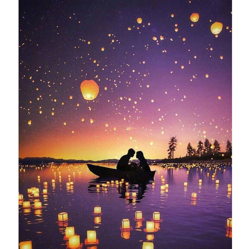 Couple In A Boat River Lights