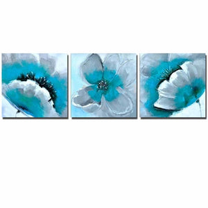 Diamond Painting 3 Luiks Blauwe Bloemen - Diamond Painting Store