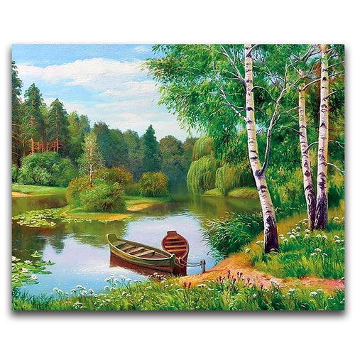 Green Tree Forest with Cross Stitch Boat