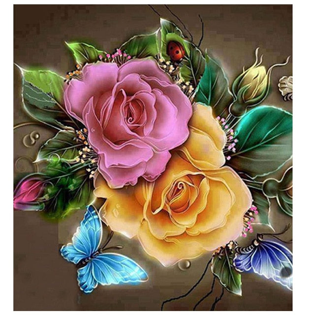 Diamond Painting Bloemen Roze & Oranje 30x30cm - Diamond Painting Store