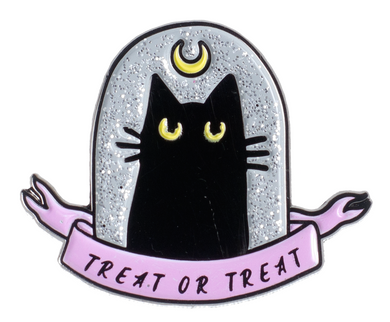 Treat Or Treat Cat Enamel Pin