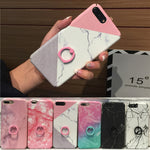 Fashion Ring Holder Marble Phone Case For iPhone