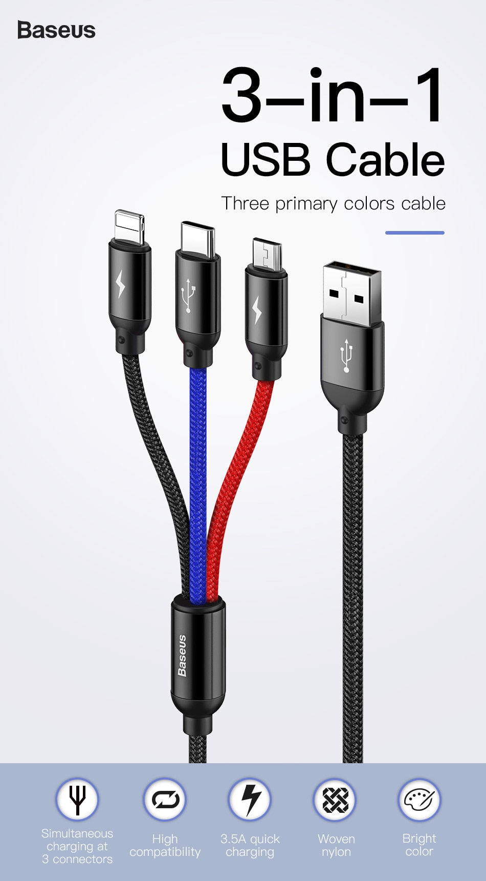 3 in 1 USB Cable for Mobile Phone Micro USB, Type C,lightning