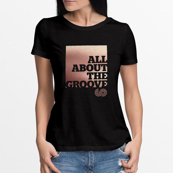 ABOUT THE GROOVE METALLIC T SHIRT - LADIES