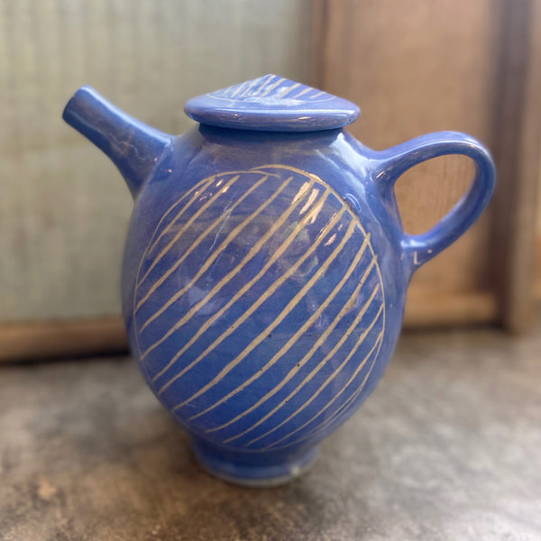 Blue Teapot with Carved Stripes