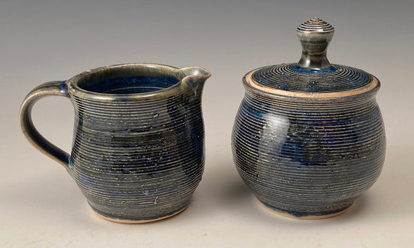Grooved Sugar and Creamer Set