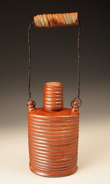 Shino Ringed Flask w. Clay Handle