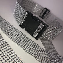 Load image into Gallery viewer, Thick Silver Diamanté Buckle Belt