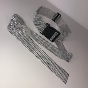 Thick Silver Diamanté Buckle Belt