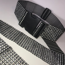 Load image into Gallery viewer, Thick Black/Silver Diamanté Buckle Belt