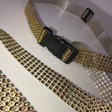 Load image into Gallery viewer, Thin Gold Diamanté Buckle Belt