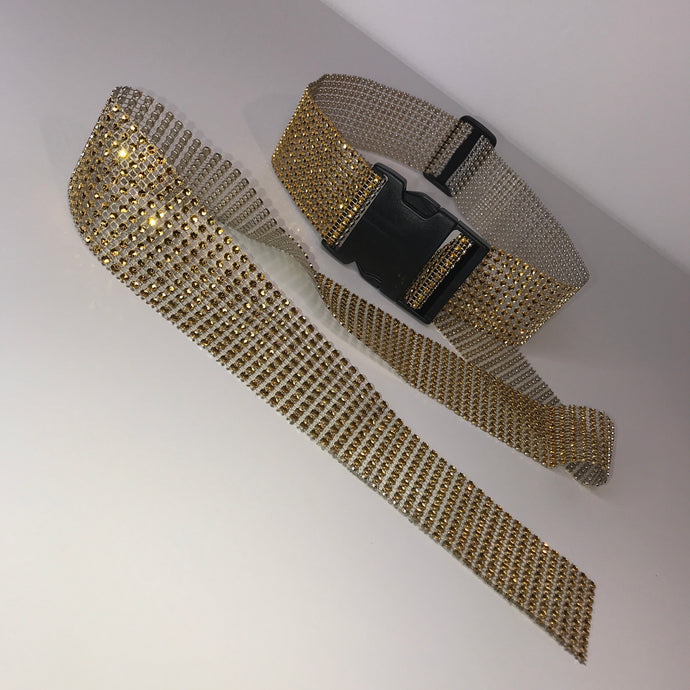 Thick Gold Diamanté Buckle Belt
