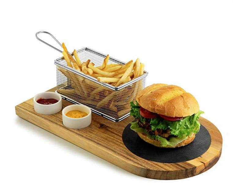 Burger and Sandwich Serving Board With Fry Basket and Cups