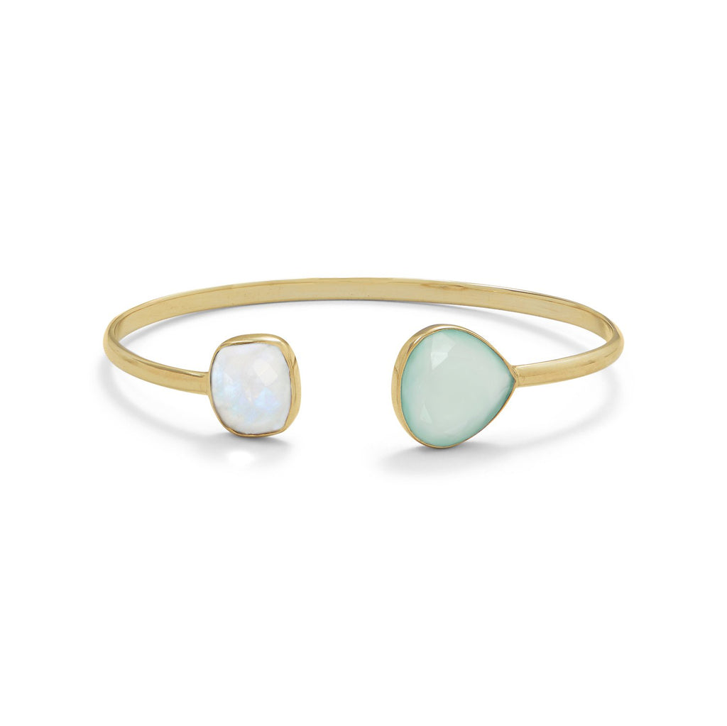 14 Karat Gold Dipped Rainbow Moonstone and Green Chalcedony Split Bangle