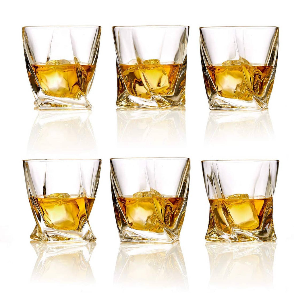 Whiskey Glasses Set of 6 Lead Free Crystal Old Fashioned