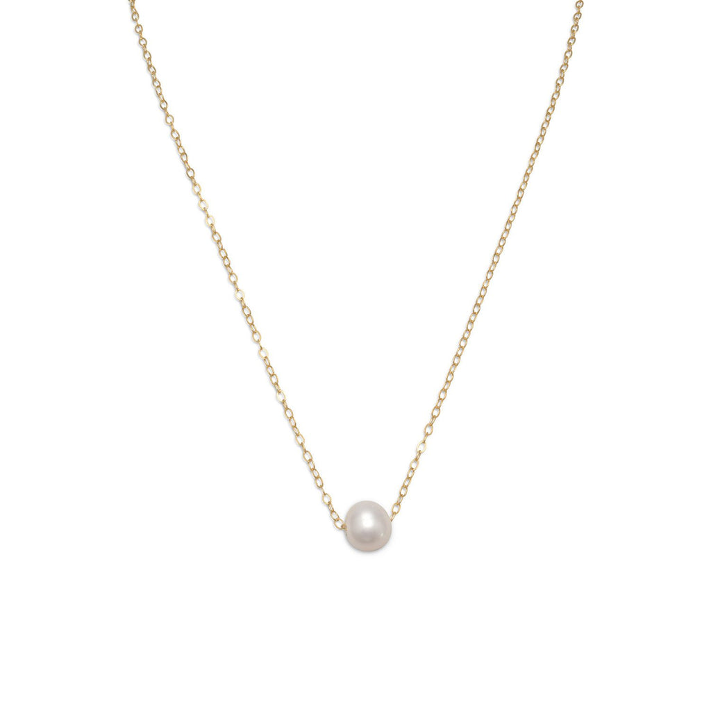 Gold Floating Cultured Freshwater Pearl Necklace