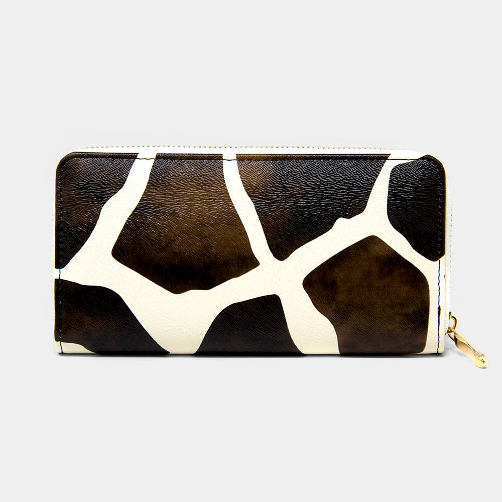 Brown Giraffe Print Zippy Wallet