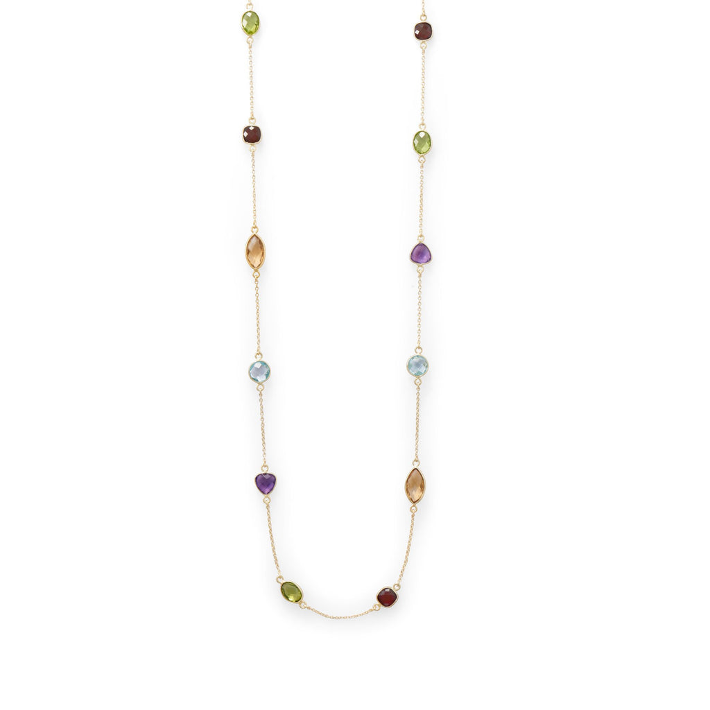 "25"" 14 Karat Gold Dipped Multi Stone Necklace"