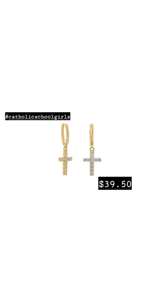 Catholic School Girl Collection Mini Cross Hoops