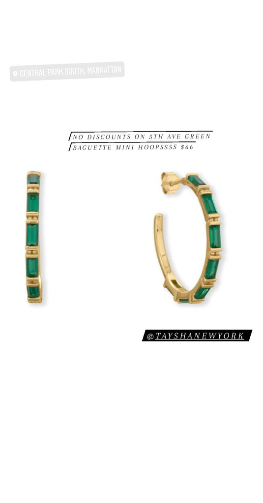 No discounts on 5th Ave green baguette hoop earrings