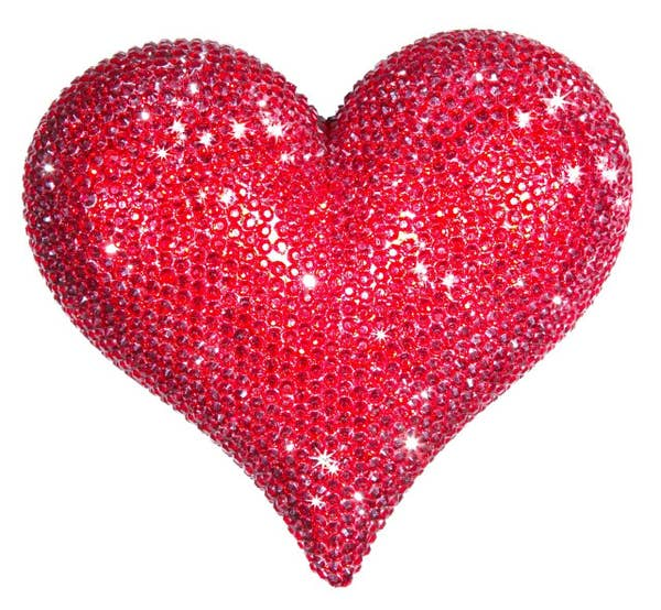 "Interior Illusions Plus Red Rhinestone Love Heart - 7"" wide"