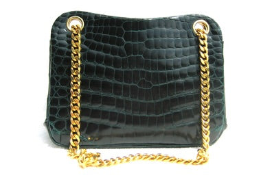 Vintage TNY Gilded & Green Alligator Bag #Circa1980
