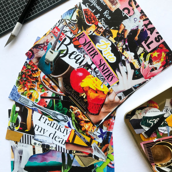 Say hello to your dear ones with these colourful, quirky collage postcards.